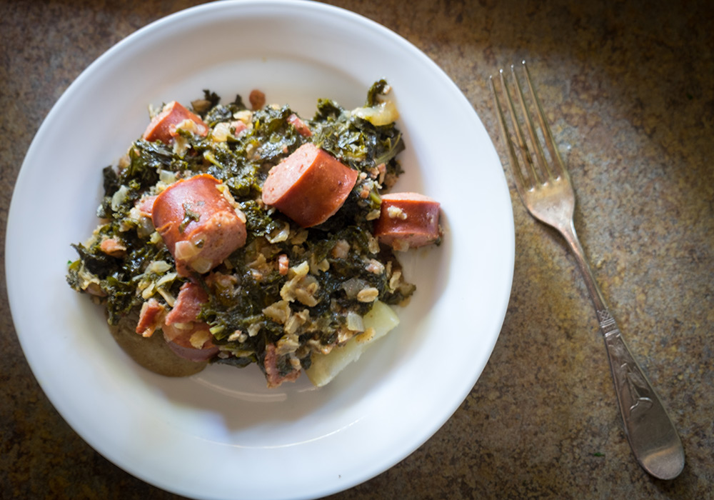 Traditional Table - plated with sausage, kale, and oats