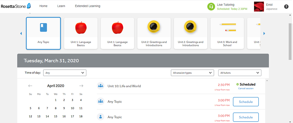 Scheduling view of Rosetta Stone tutoring