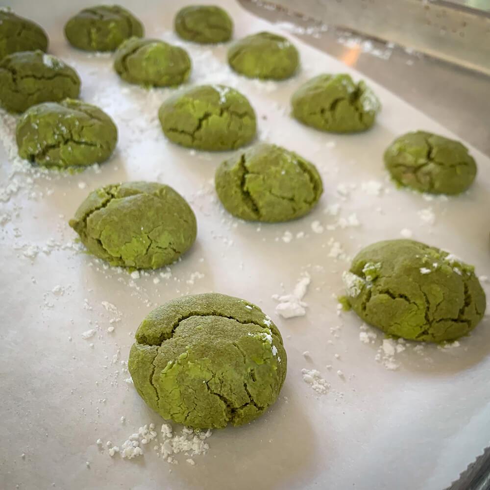 Matcha flavored Japanese snowballs
