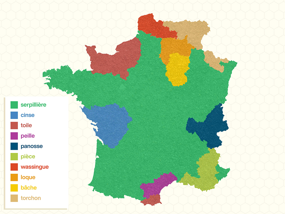 Regional map of French words