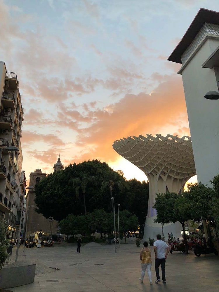 "A sunset view of the Metropol Parasol, or ""Setas,"" in Seville, Spain."
