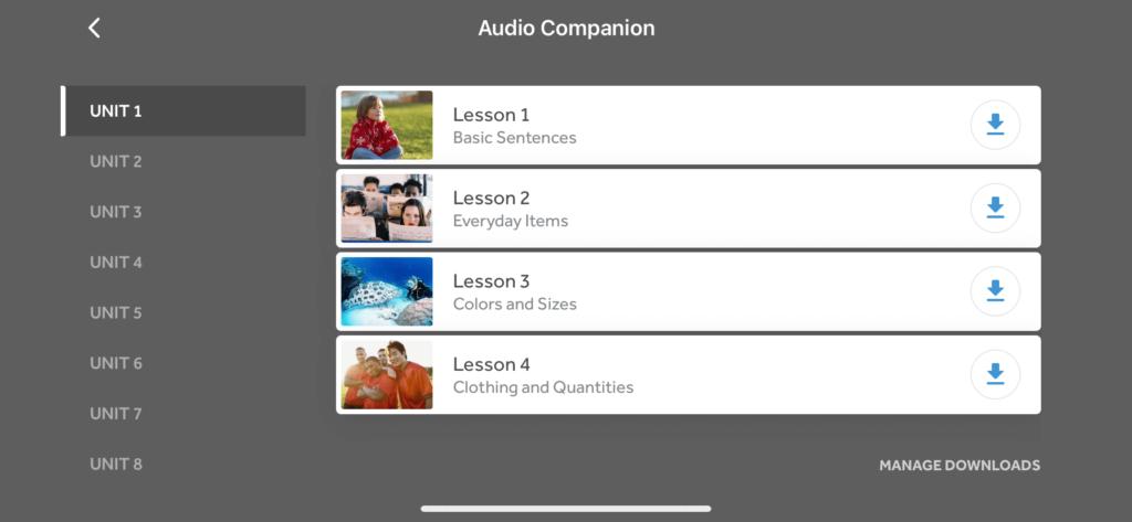 Lessons in Unit 1 of Rosetta Stone's Audio Companion